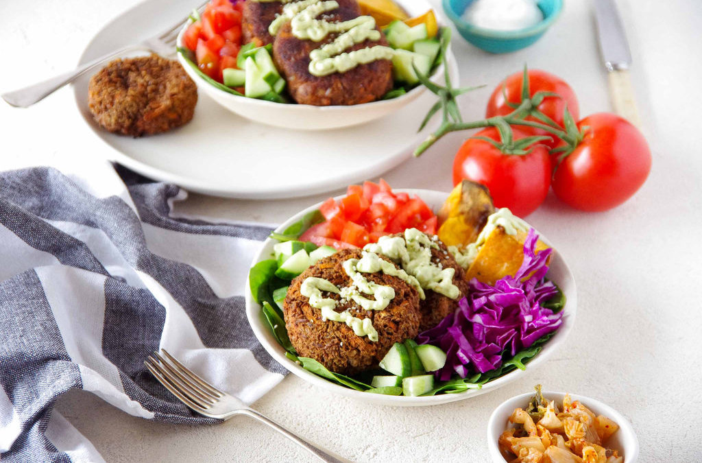 Carrot and Kumara Burger Bowls