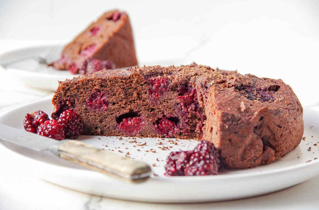 Grain Free Vegan Chocolate and Berry Brownie Cake