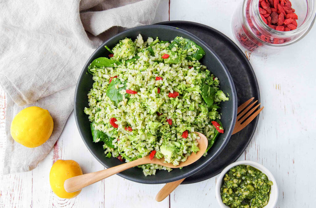 Broccoli Brown Rice Pesto Salad