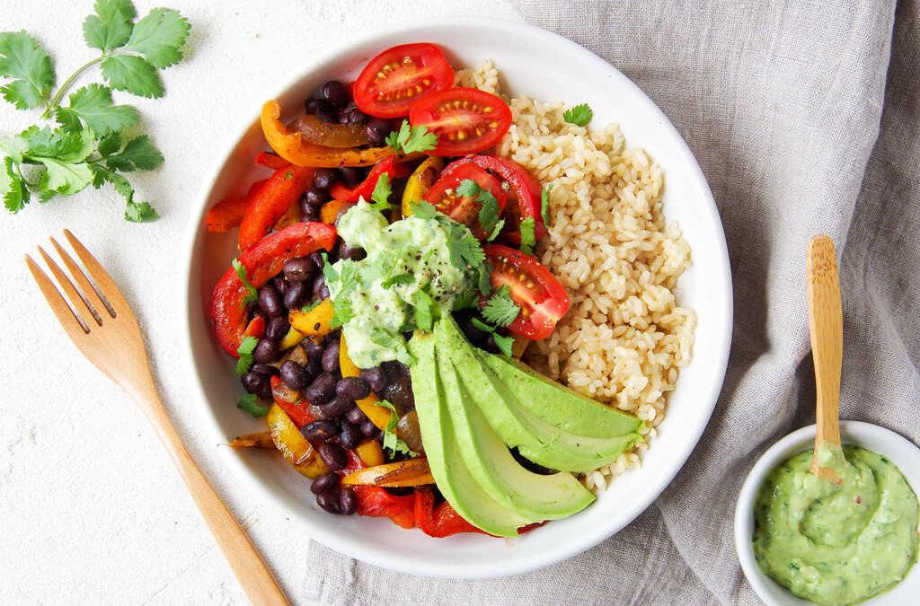 Bean Fajita Bowls with creamy Avocado & Coriander Sauce